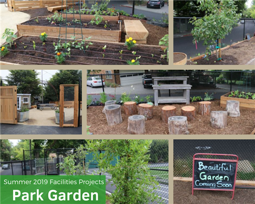 Photo collage of the Park School Garden