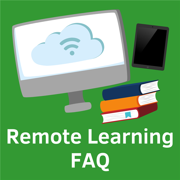 Remote Learning FAQ text with a graphic of a computer, iPad, and books