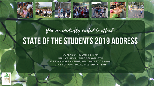 state of the students 2019 address november 14 5pm mill valley middle school gym