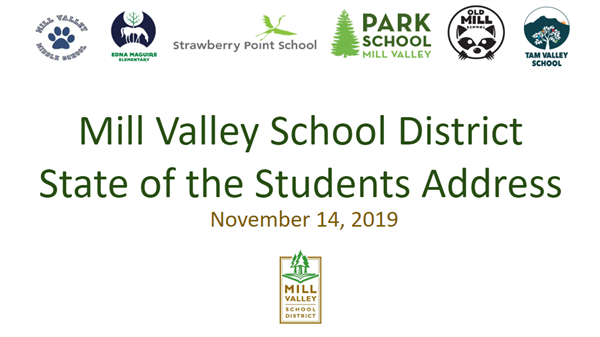 Slide one of the presentation - State of the Students Address 2019 with school logos