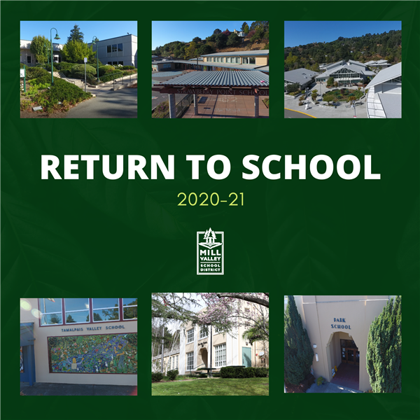 return to school 2020-21 with photos of the fronts of all 6 MVSD schools