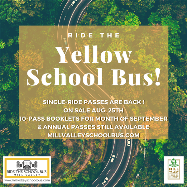 ride the yellow school bus! single ride passes are back. One sale Aug 25th. 10-pass booklets for month of september