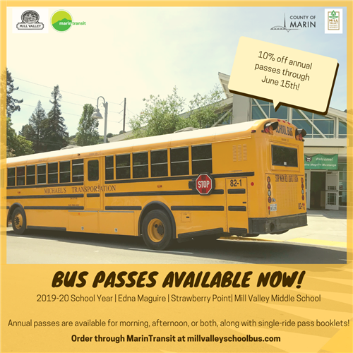 bus passes available now at millvalleyschoolbus.com