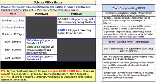 Science Office Hour Schedule