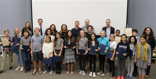 6th graders recognized by the board