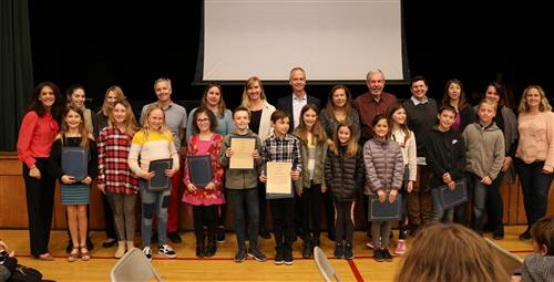 5th Grade students recognized by the board
