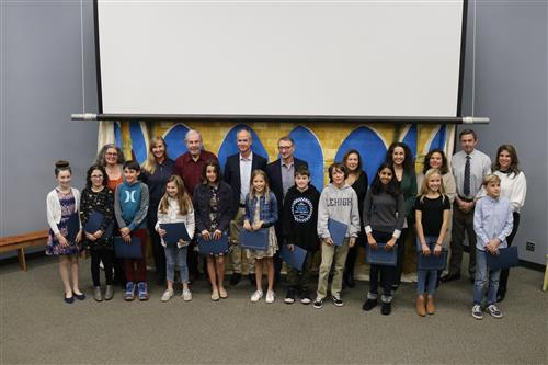 6th grade students honored by the board