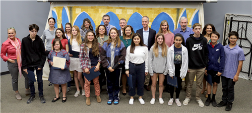 8th grade students recognized by the board