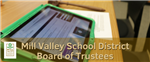 an iPad with a board agenda and text saying Mill Valley School District Board of Trustees