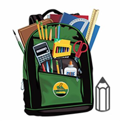 Picture of backpack with school supplies