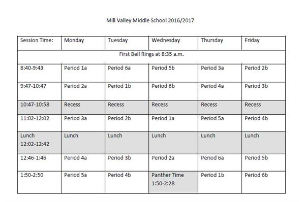 Picture of a Bell Schedule for MVMS